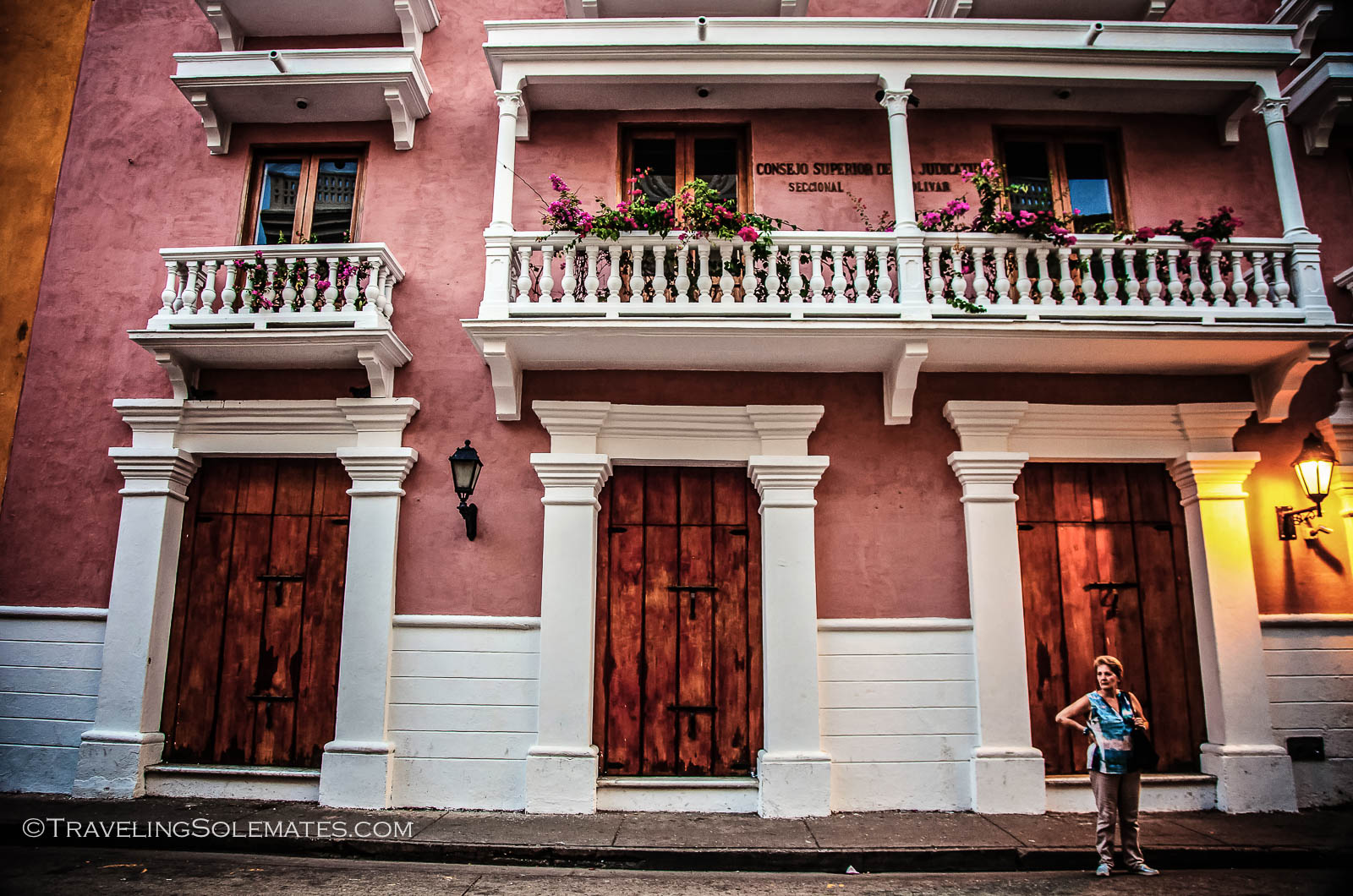 A colorful facade in Old Cartagena, Colombia