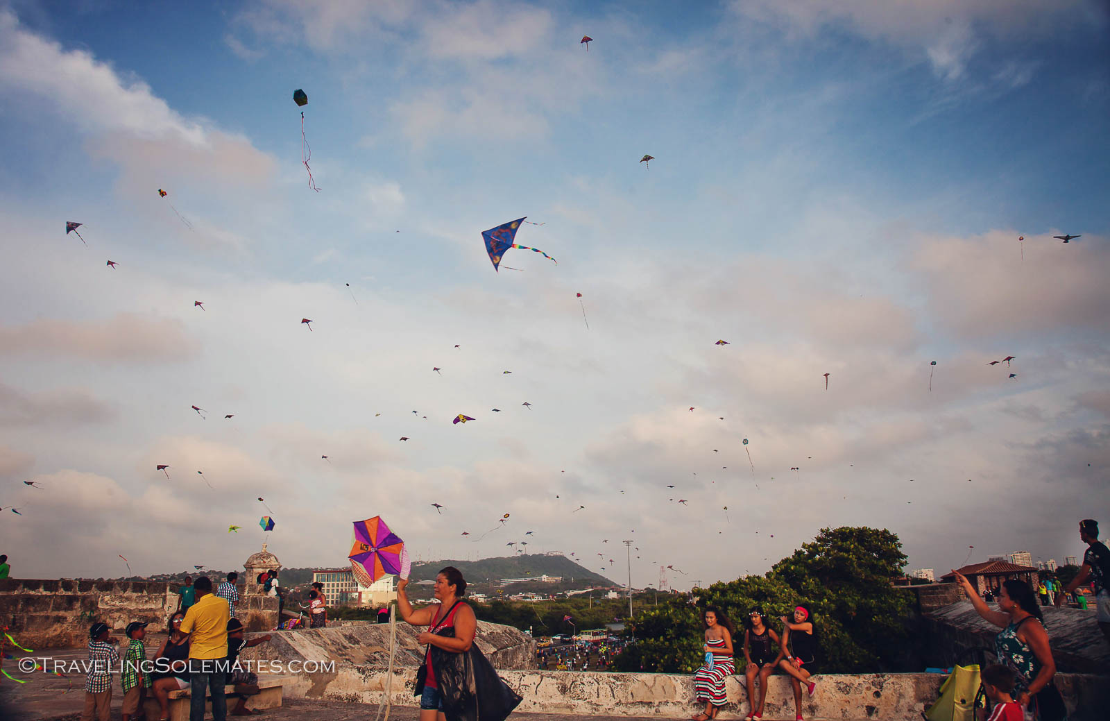 Kite flying on the wall of Old Cartagena, Colombia