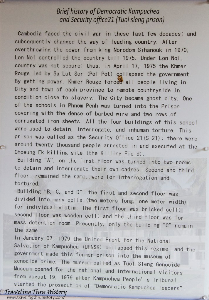 Brief History of Democratic Kampuchea and Security Office 21 (Tuol Sleng Prison)
