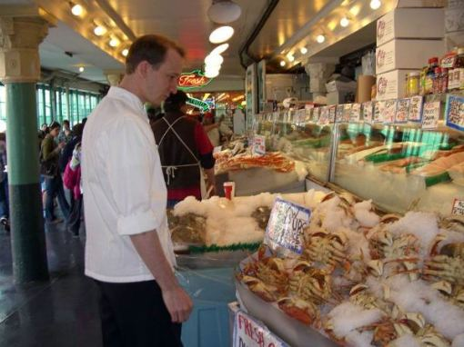 ART chef shopping at Pike Place Market for Organic Wednesday