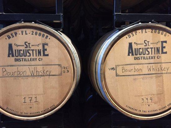 Bourbon barrels aging inside St. Augustine Distillery.