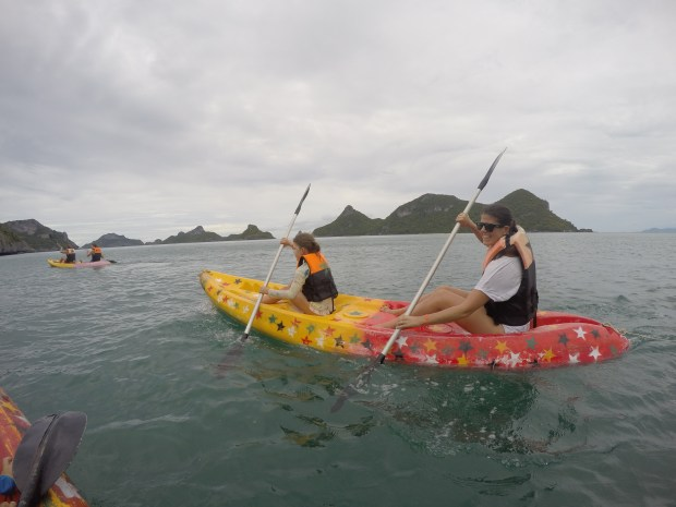 Ruby and Rach kayaking