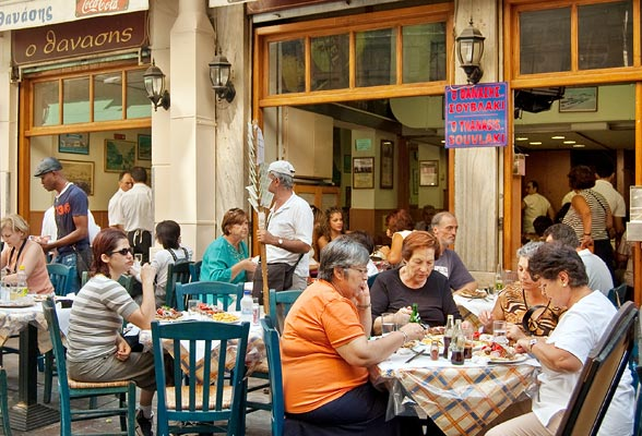 Dining at a Plaka taverna