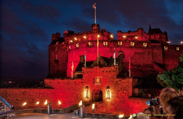 Edinburgh Castle all fired up for the Edinburgh Military Tattoo