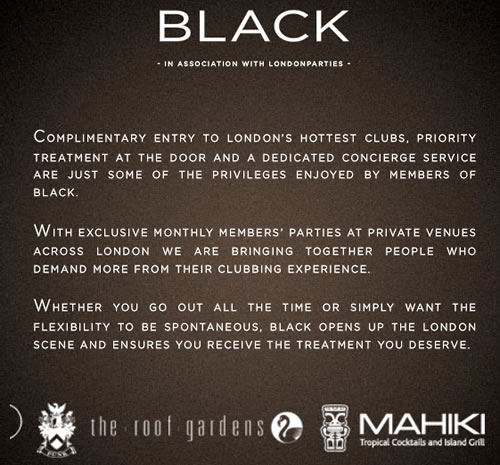 BLACK nightlife concierge service