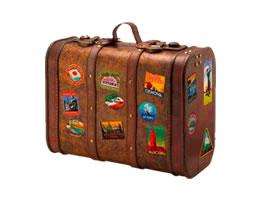 Alter Reisekoffer mit diversen Klebern
