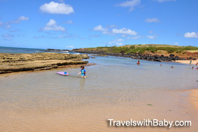 Calm waters for swimming at Kauai's Salt Pond Park