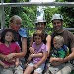 Family on sky tram in Costa Rica