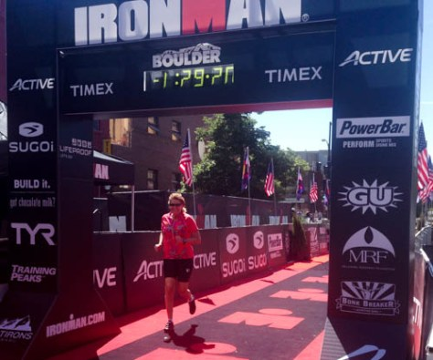 Crossing the Boulder Ironman Finish Line