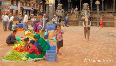 Vendors selling in Durbar Square, Bhaktapur, Nepal
