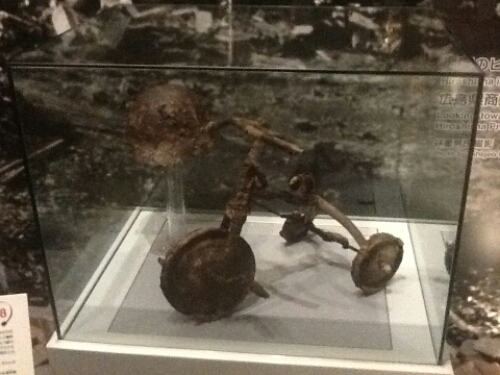 Melted bicycle at Hiroshima Peace Memorial Museum