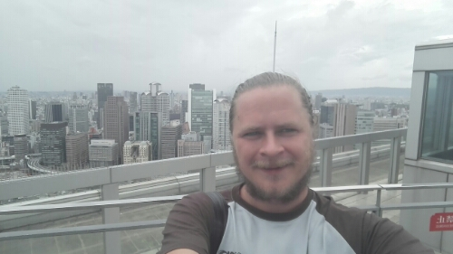 Selfie on top of Umeda Sky Building