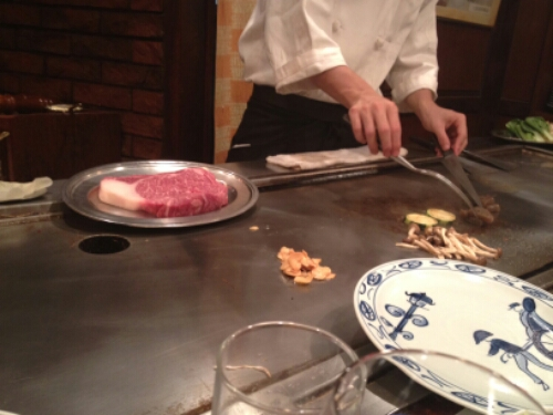 Kobe beef being cooked