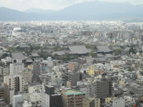 View of Kyoto Imperial Palace from Kyoto Tower