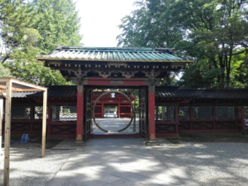 A circular gate at Nezu Shrine