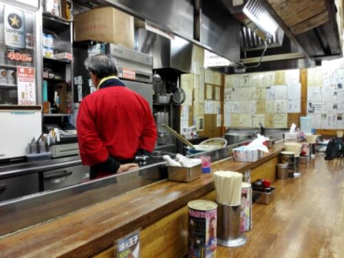Inside a ramen shop in Ramen Street