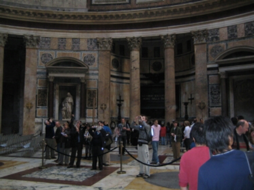 Tourists inside the Pantheon in Rome
