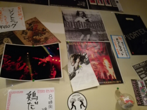 Band posters in the heavy metal yakitori restaurant