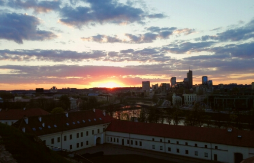 Sun sets over Vilnius. Seen from Gediminas' Castle