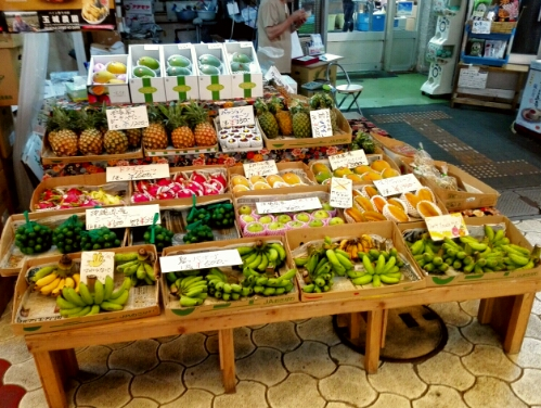 Fruit stand at a market in Naha