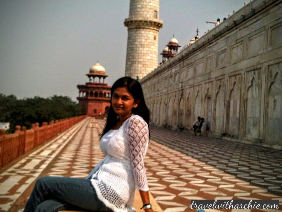 Just taking a chill pill at the Taj - it was a very hot day indeed!