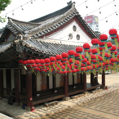 Bongeunsa is always decorated with lanterns. (credit wikipedia)