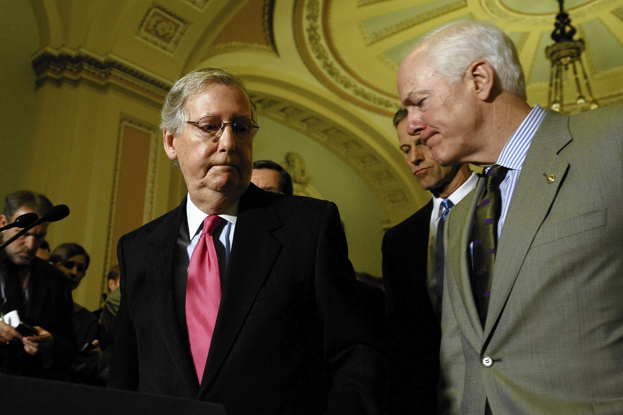 Senate Minority Leader Mitch Mcconnell Ky Left And Sen Jo