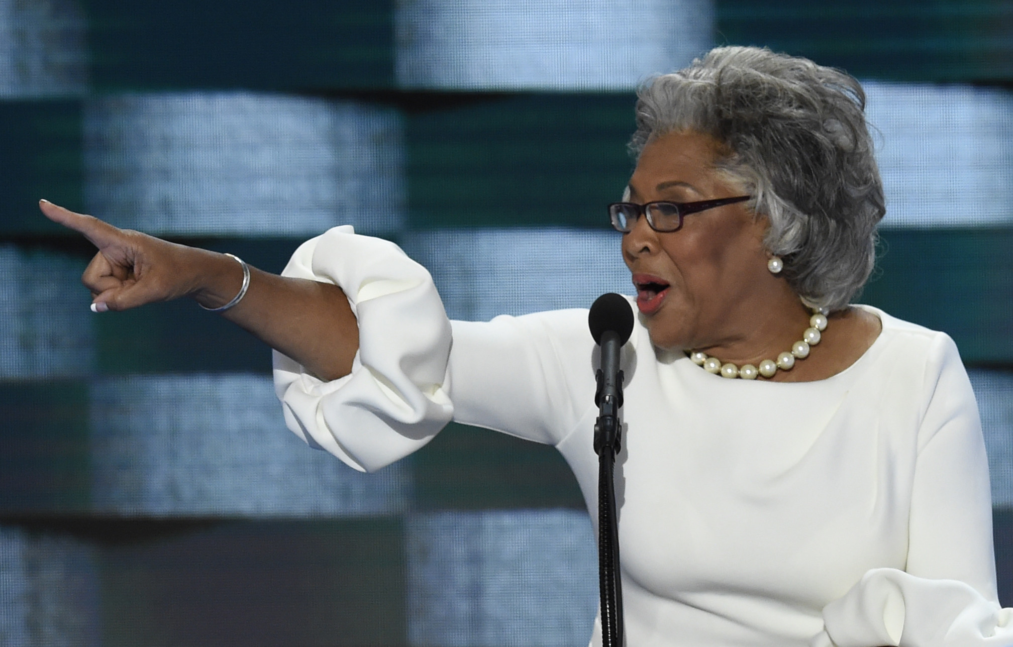 U.S. Rep. Joyce Beatty of Ohio addresses delegates on the fourth and final day of the Democratic National Convention at Wells Fargo Center on July 28 in Philadelphia.