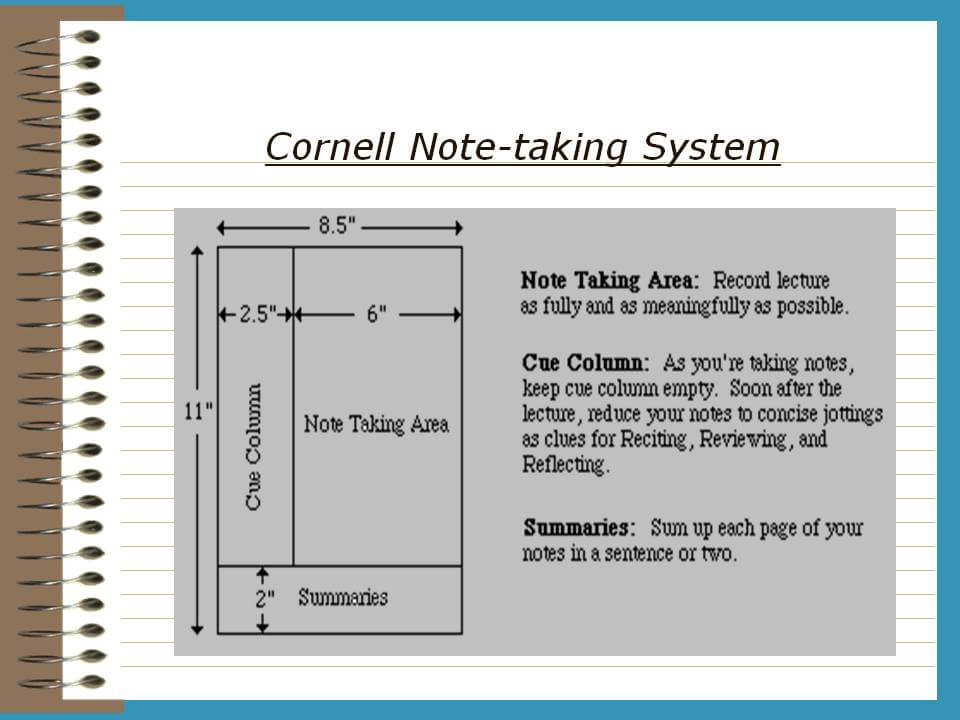 Cornell Note-Taking System \u2013 TRCC Extranet - cornell note