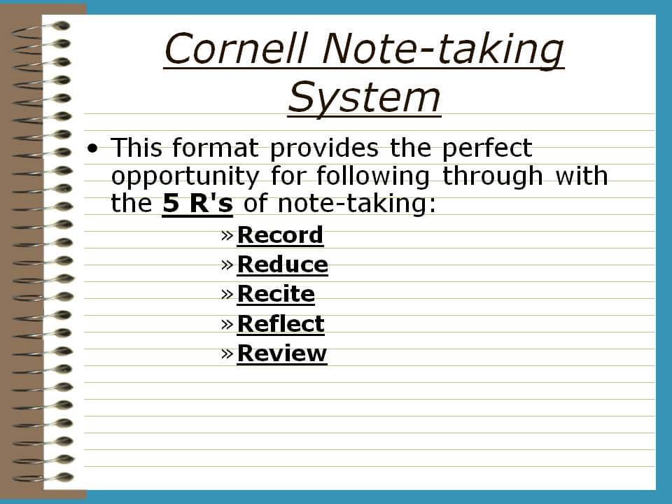 Cornell Note-Taking System \u2013 TRCC Extranet