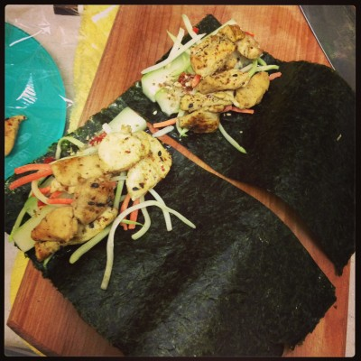 Curried chicken and veggie roll ups (in nori) for dinner Friday night.