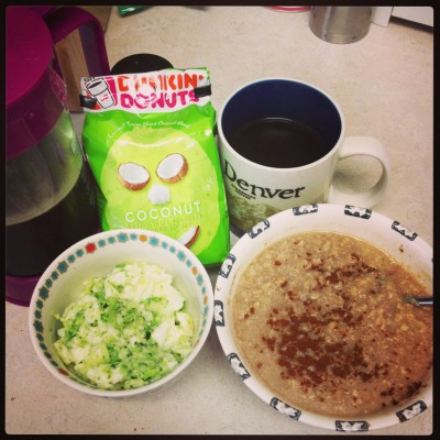 I had a very green breakfast on St. Patrick's Day! Coconut coffee, zucchini egg whites, and oats (they weren't Irish oats, but we can pretend they were)!
