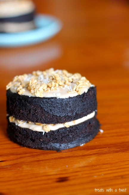 Chocolate Cake with Caramelized Coconut Milk Frosting and Salted Caramel (treatswithatwist.com)