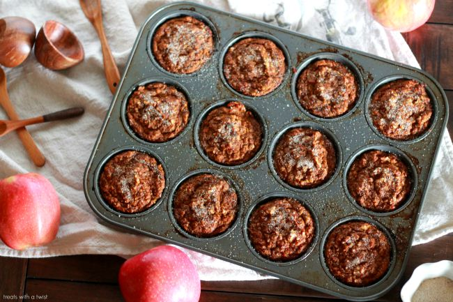 Pumpkin Apple Muffins // gluten free// treatswithatwist.com