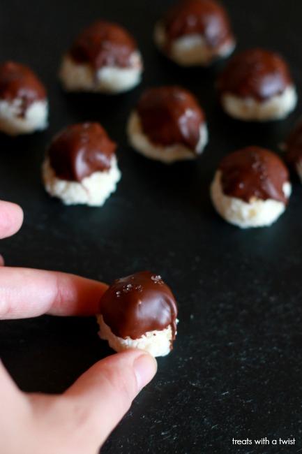 Chocolate Dipped Coconut Truffles // treatswithatwist.com