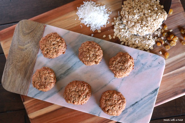 Oatmeal Raisin Cookies // gluten free, flourless, no refined sugar, one bowl // treatswithatwist.com