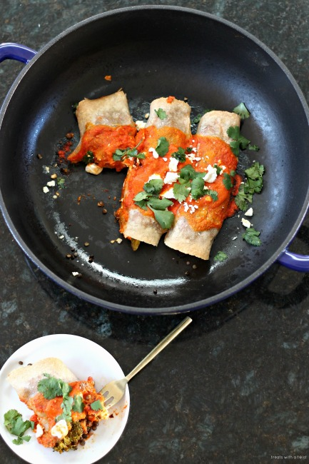 Curry Roasted Vegetarian Enchiladas with Harissa Enchilada Sauce // gluten free, treatswithatwist.com