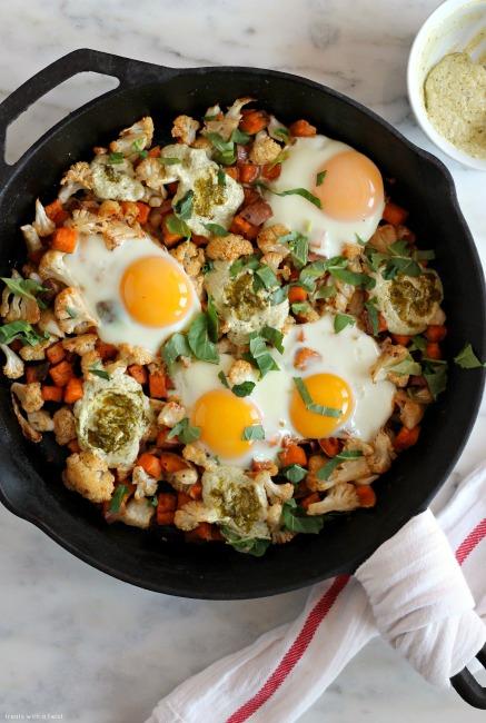 Sweet Potato Cauliflower Egg Skillet with Yogurt Pesto // treatswithatwist.com
