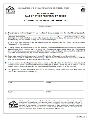 Addendum for Sale of Other Property by Buyer TREC - house sales contract