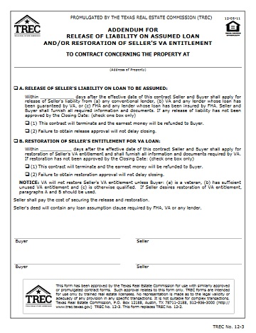 Addendum for Release of Liability on Assumed Loan and/or Restoration - example of release of liability form
