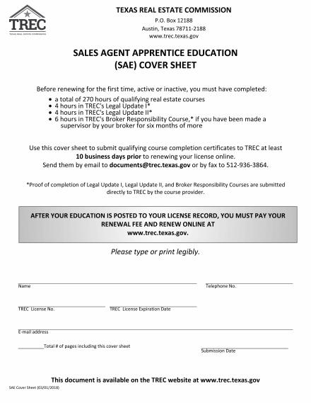 Sales Agent Apprentice Education (SAE) Cover Sheet TREC - sales agent contracts