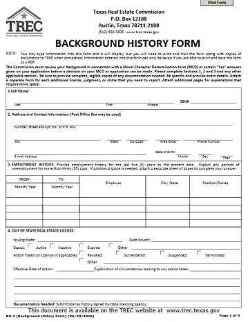 Background History Form TREC - background check consent forms