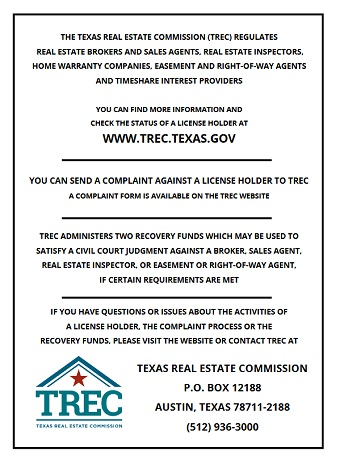 Consumer Protection Notice TREC - consumer form