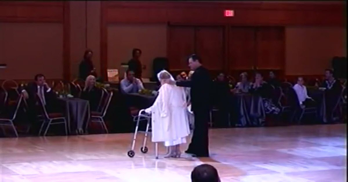 94 Year Old Woman Approaches The Dance Floor Using A Walker But When The Music Starts Everyone