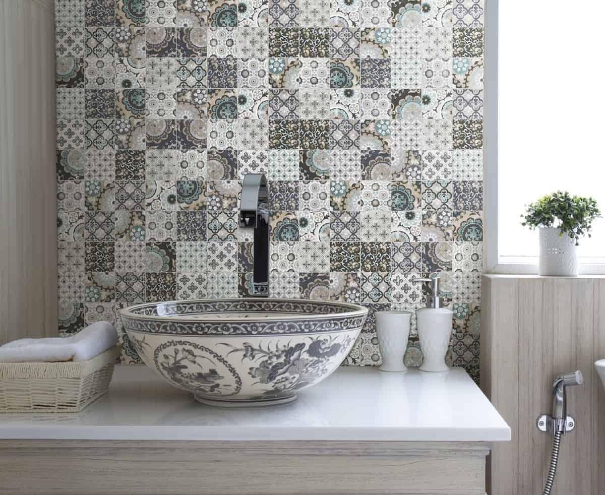 3d Grey Brick Effect Wallpaper Patchwork Backsplash For Country Style Kitchen Ideas