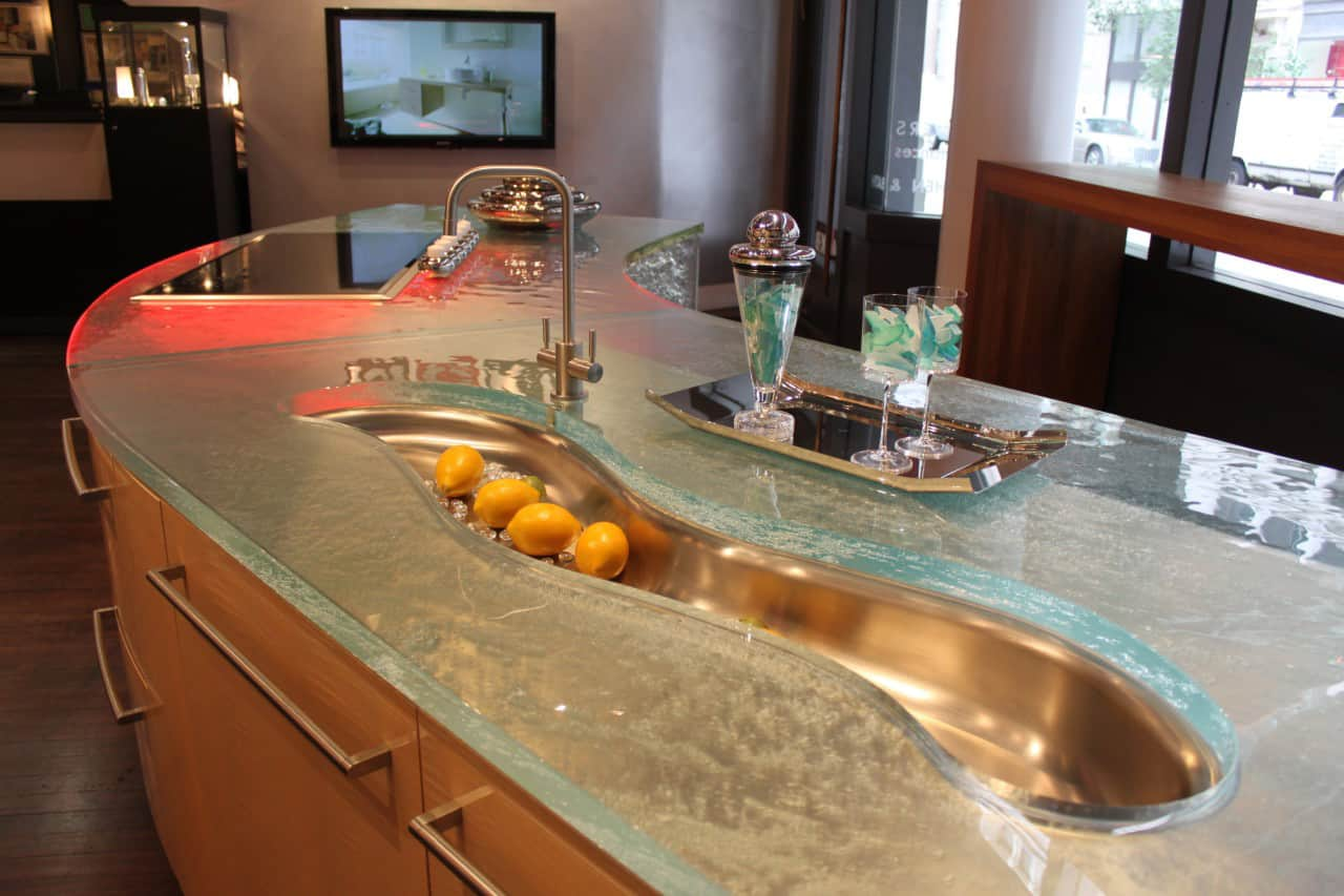 modern kitchen countertops from unusual materials 30 ideas countertops for kitchens modern countertops unusual material kitchen glass 4