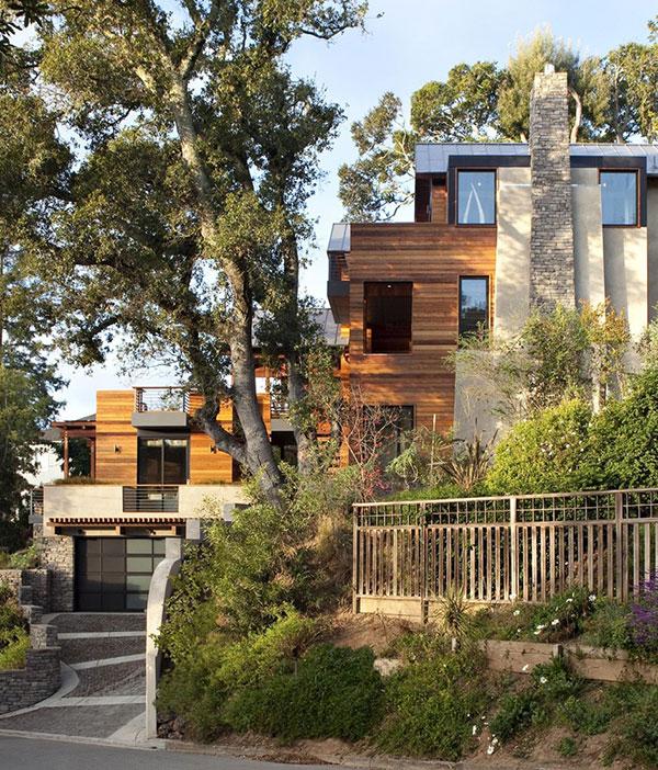 Beautiful Hillside House in California by SB Architects Bricks of - maison en bois et en pierre