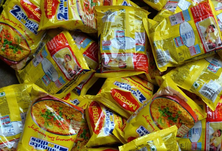 Nestle 'Maggi' instant noodles are photographed in a shop in the Indian capital New Delhi on June 3, 2015. India June 3, 2015, tested packets nationwide of Nestle India's instant noodles after high lead levels were found in batches in the country's north amid a mounting food-safety scare, an official said. AFP PHOTO / Chandan KHANNA (Photo credit should read Chandan Khanna/AFP/Getty Images)