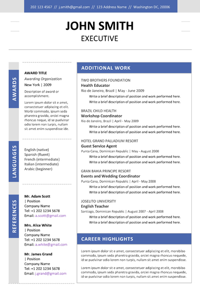 Resume Templates For Word Download Executive Resume Dark Blue 2pg2