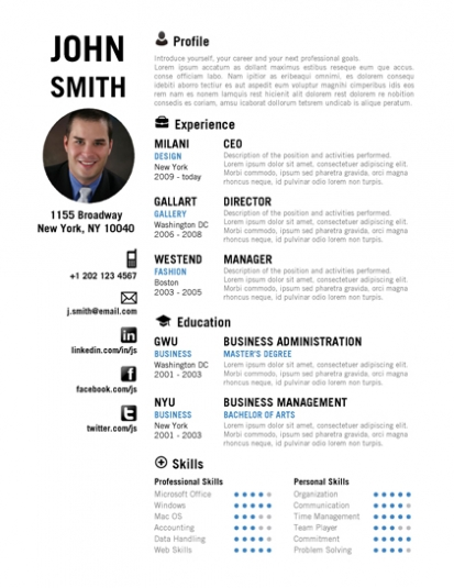 Resume Layout Linkedin Executive Resume Samples Chameleon Resumes Trendy Resumes Creative Resume Templates